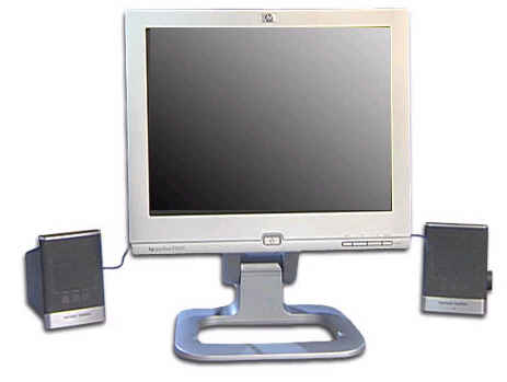 HP Pavilion f1903 flat panel monitor shown with Harman Kardon speakers