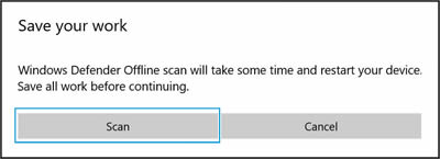 Clicking Scan in the Save your work window