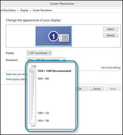Windows  screen resolution adjustment slider set to the recommended display resolution
