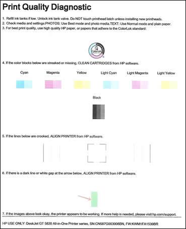 Imagen: Página de diagnóstico de calidad de impresión