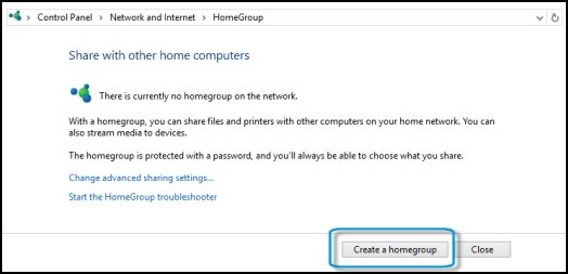 Location of Create a homegroup button