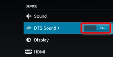 DTS Sound + OFF/ON