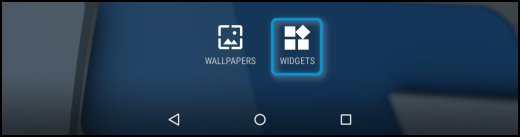 Widget icon on the Home screen