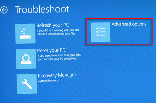 The Troubleshoot screen, with Advanced options selected