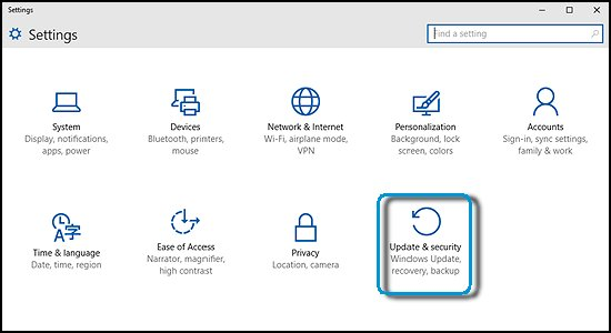Settings with Update and security selected