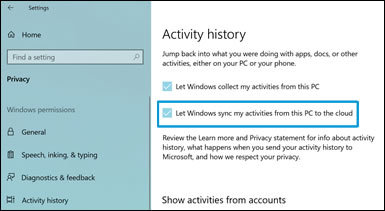 Select 'Let Windows sync my activities from this PC to the cloud'