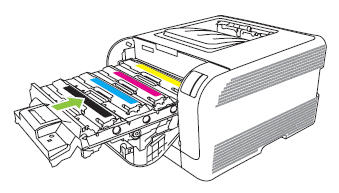 Illustration: Close the print cartridge drawer.