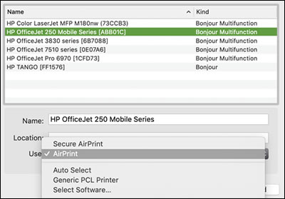 Adding a printer and selecting AirPrint
