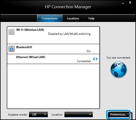 HP Connection Manager with Preferences  circled