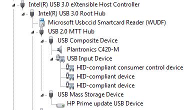 Imagen: Ejemplo del Administrador de dispositivos y Prime en un concentrador USB 2.0 , en Controladora de Host USB 3.0