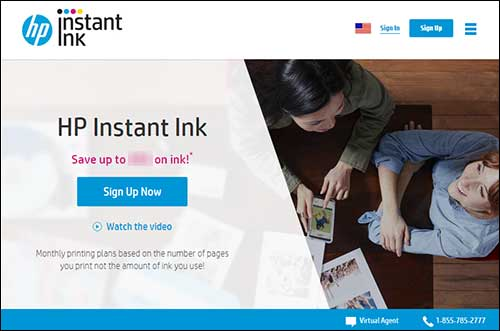 Signing up on HP Instant Ink