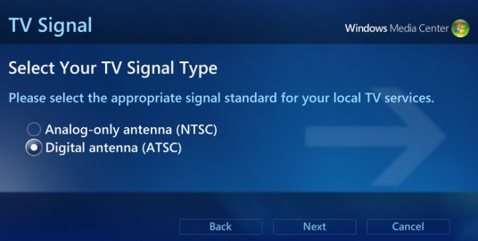 screen shot from Media Center showing Digital antenna selected for TV Signal Type