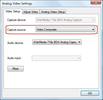 Analog Video Settings window