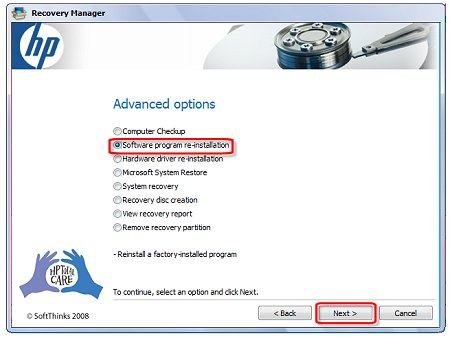 Image of Recovery Manager Advanced options window with selections.
