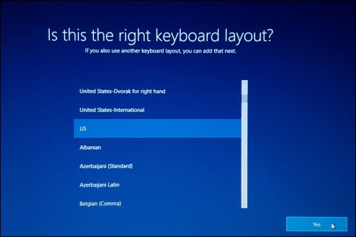 Selecting the keyboard layout