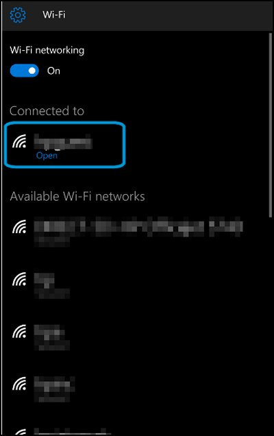 Wi-Fi screen with network highlighted