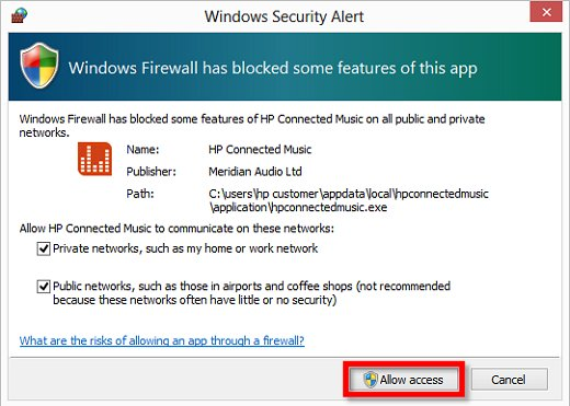 Image of Windows Security Alert notification that Windows Firewall has blocked some features of this app