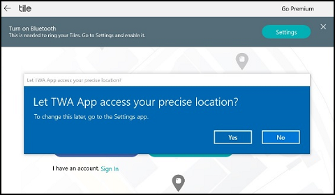 Location access message box