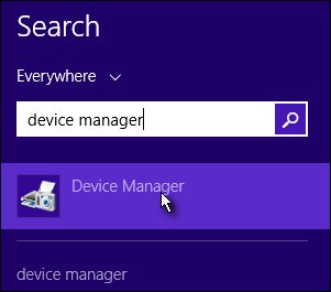 Device Manager search results