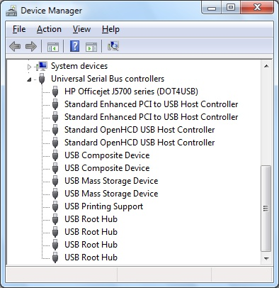 USB controllers in Windows 7