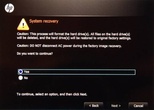 System Recovery screen with Yes selected.