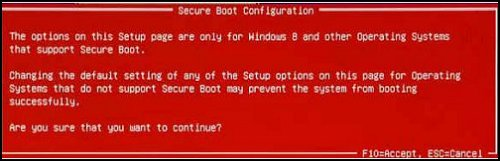 Secure Boot Configuration warning