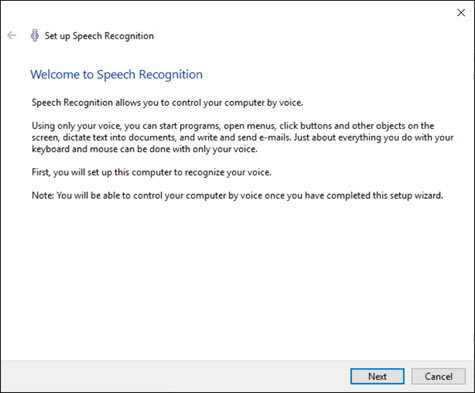The Welcome to Speech Recognition window