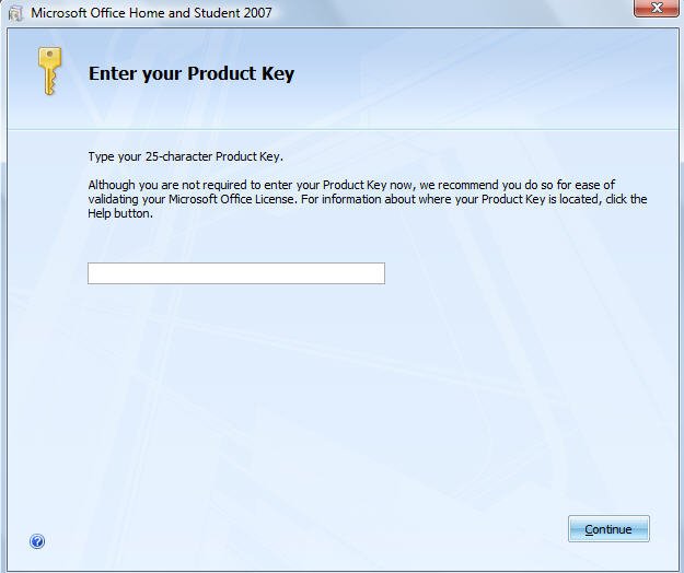 chave de segurança office 2007 product key