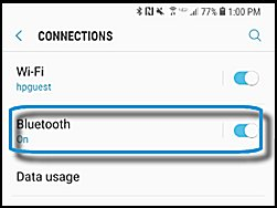 Turning on Bluetooth on your smartphone