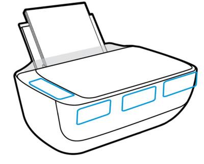 Пример распространенных мест расположения названий принтера HP
