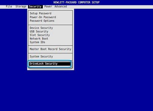 Imagen: Seleccione Seguridad de Drivelock