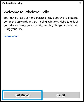 Get started on the Welcome to Windows Hello screen
