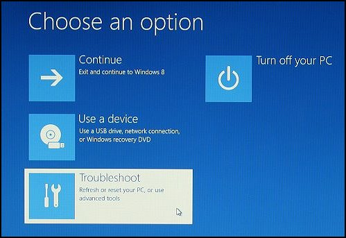 Selecting Troubleshoot on Choose an option