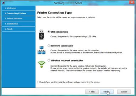 Image shows selecting USB connection