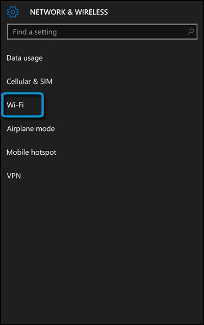 Network & Wireless screen with Wi-Fi selected