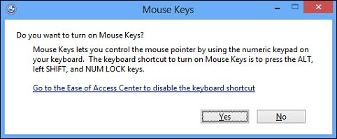 The warning message that appears when Mouse Keys are turned on
