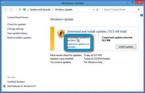 Selecting manual updates in windows update.