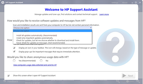 Illustration de l'écran d'accueil de HP Support Assistant