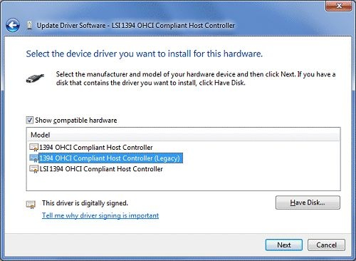 Update Driver Software window with 1394 OHCI Compliant Host Controller (Legacy) selected