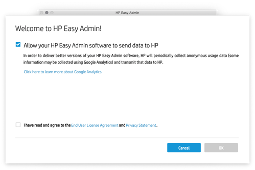 Welcome to HP Easy Admin screen