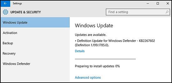 Windows updates being installed