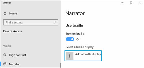 Narrator settings with Add a braille display option
