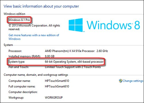System Properties showing Window 8.1 Pro Edition 64-bit version