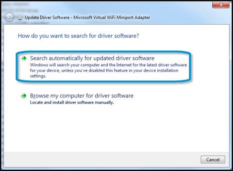 Update Driver Software window with Search automatically for updated driver software highlighted