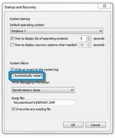 Startup and Recovery settings: Automatically restart