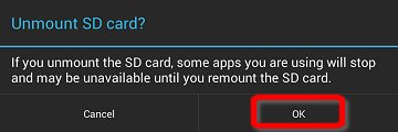 Confirm unmount SD card