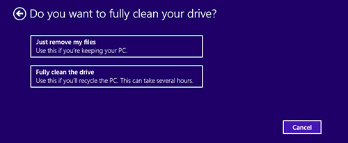 Image of the Reset your PC screen.