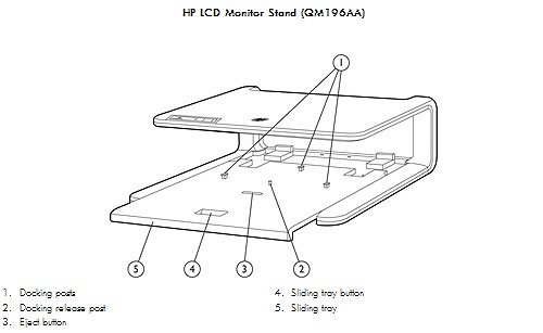 Image of the  HP LCD Monitor Stand with callouts for each component.