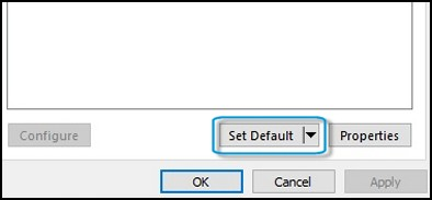 Set Default option in the Sound window