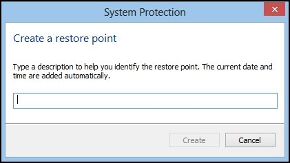The System Protection Create a restore point window